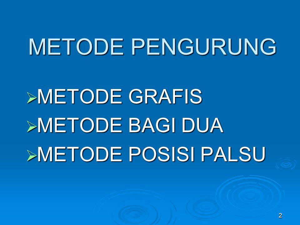 2 METODE PENGURUNG  METODE GRAFIS  METODE BAGI DUA  METODE POSISI PALSU