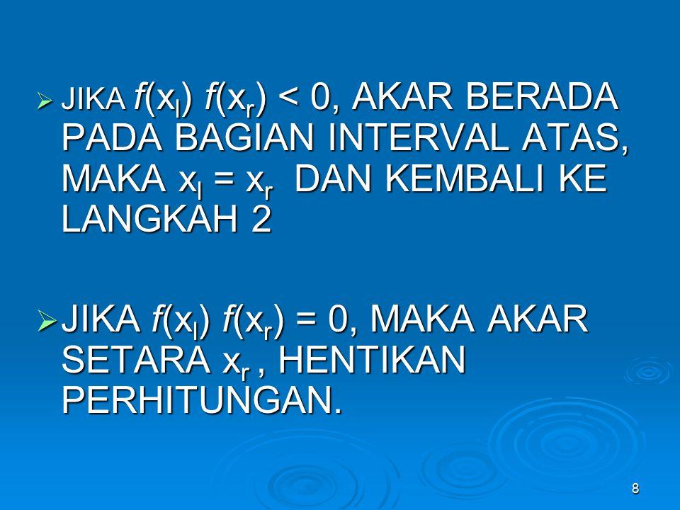 8  JIKA f(x l ) f(x r ) < 0, AKAR BERADA PADA BAGIAN INTERVAL ATAS, MAKA x l = x r DAN KEMBALI KE LANGKAH 2  JIKA f(x l ) f(x r ) = 0, MAKA AKAR SET