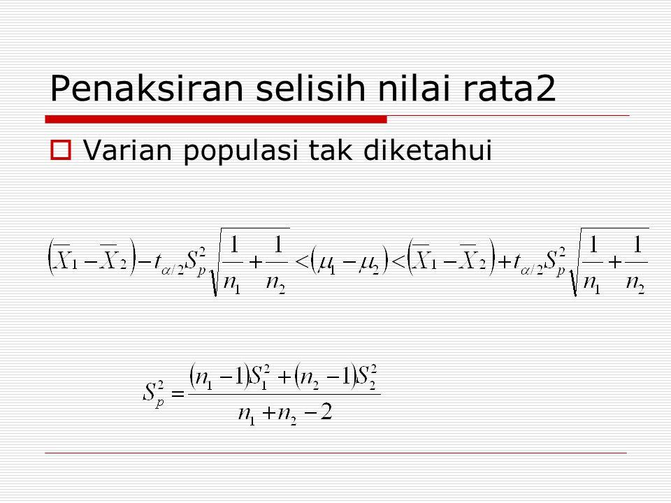 MENAKSIR RASIO DUA VARIAN  Jika kedua populasi berdistribusi normal maka rasio kedua varian akan berdistribusi F-Fisher.