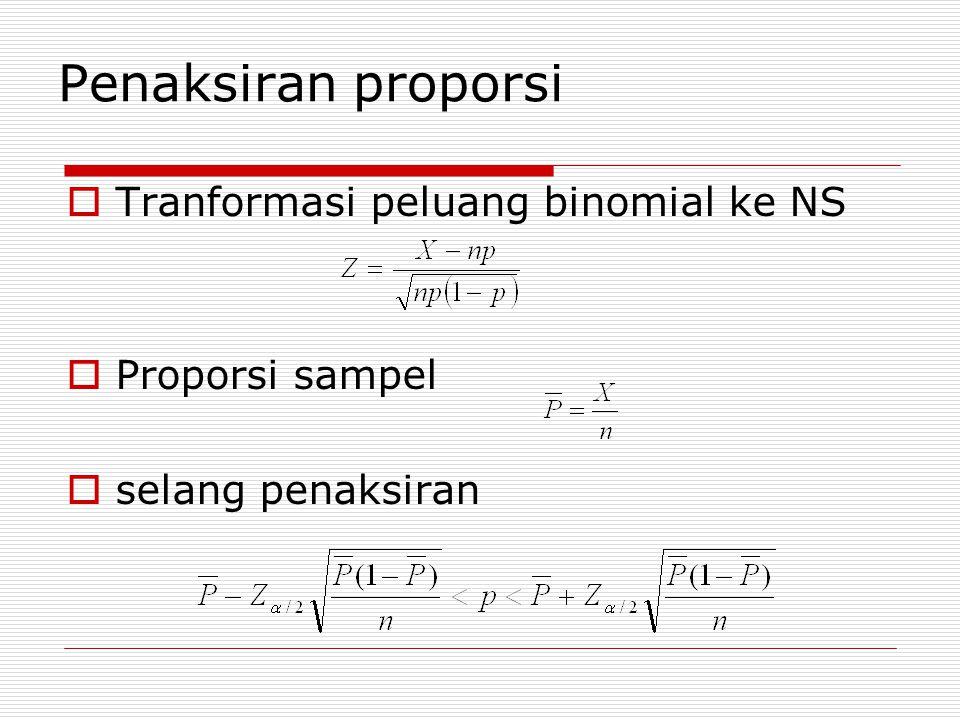 contoh  Dua produsen batu bata diuji apakah memiliki konsistensi produk dengan membandingkan varian sampel yang diambil dari kedua populasi produk masing masing berukuran n1 = 16 dan n2 = 11  Dari pengukuran sampel ini didapat  Dengan keyakinan 90% dihitung