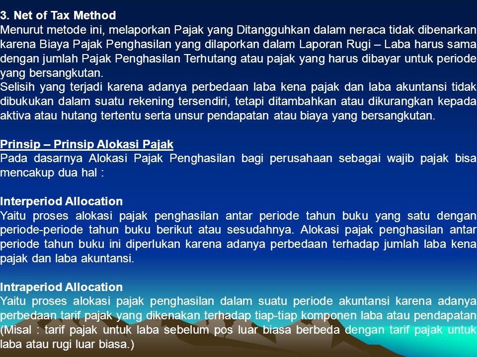 Karena Undang-Undang Perpajakan di Indonesia tidak mengenal diskriminasi tarif yang diberlakukan terhadap tiap-tiap komponen laba atau pendapatan, maka masalah Intraperiod Allocation praktis tidak pernah dijumpai, sehingga pembahasan lebih dititikberatkan pada masalah Interperiod Allocation.