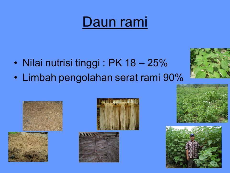 Daun rami Nilai nutrisi tinggi : PK 18 – 25% Limbah pengolahan serat rami 90%