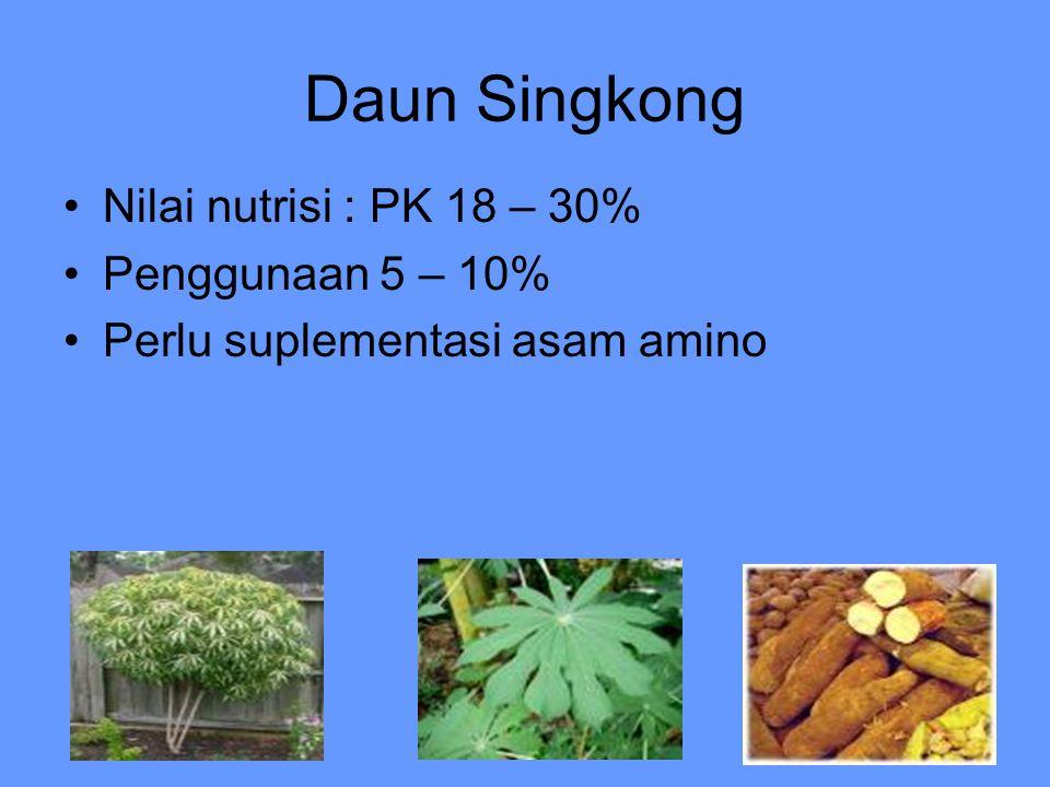 Daun Singkong Nilai nutrisi : PK 18 – 30% Penggunaan 5 – 10% Perlu suplementasi asam amino