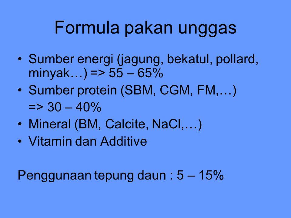 Formula pakan unggas Sumber energi (jagung, bekatul, pollard, minyak…) => 55 – 65% Sumber protein (SBM, CGM, FM,…) => 30 – 40% Mineral (BM, Calcite, NaCl,…) Vitamin dan Additive Penggunaan tepung daun : 5 – 15%