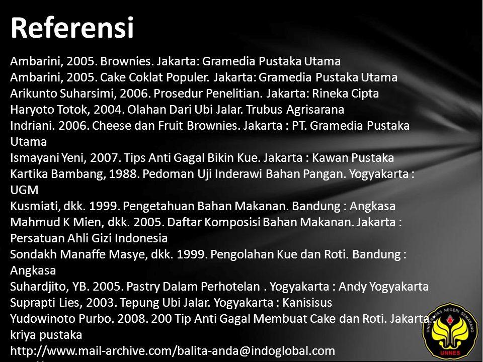 Referensi Ambarini, 2005. Brownies. Jakarta: Gramedia Pustaka Utama Ambarini, 2005.