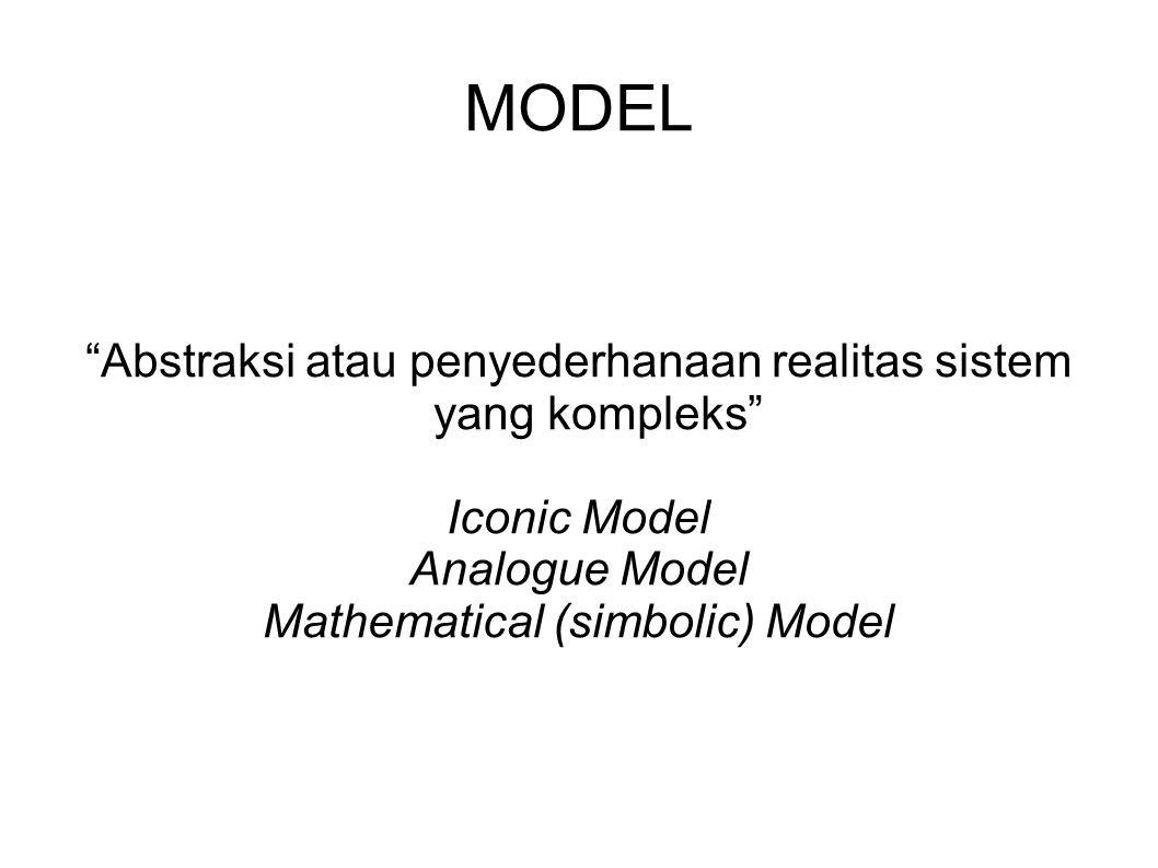 """MODEL """"Abstraksi atau penyederhanaan realitas sistem yang kompleks"""" Iconic Model Analogue Model Mathematical (simbolic) Model"""