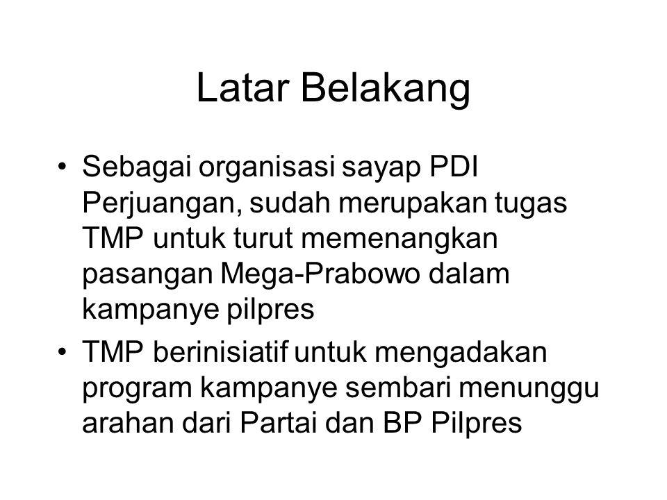 Latar Belakang Sebagai organisasi sayap PDI Perjuangan, sudah merupakan tugas TMP untuk turut memenangkan pasangan Mega-Prabowo dalam kampanye pilpres TMP berinisiatif untuk mengadakan program kampanye sembari menunggu arahan dari Partai dan BP Pilpres