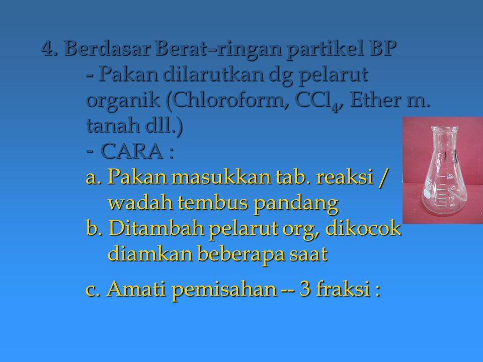 4. Berdasar Berat–ringan partikel BP - Pakan dilarutkan dg pelarut organik (Chloroform, CCl 4, Ether m. tanah dll.) - CARA : a. Pakan masukkan tab. re