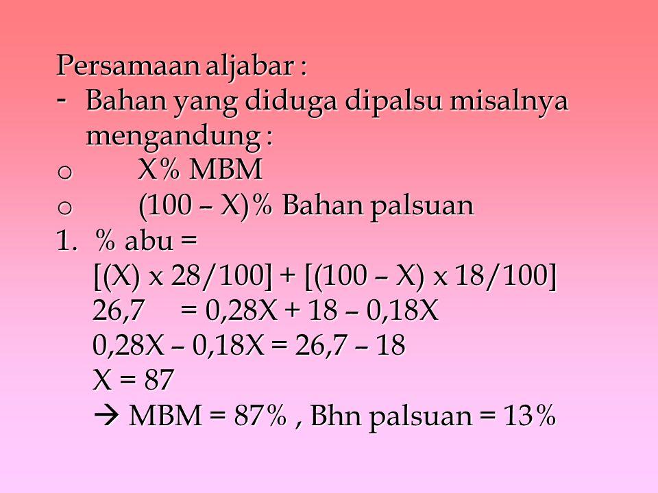 Persamaan aljabar : - Bahan yang diduga dipalsu misalnya mengandung : o X% MBM o (100 – X)% Bahan palsuan 1. % abu = [(X) x 28/100] + [(100 – X) x 18/