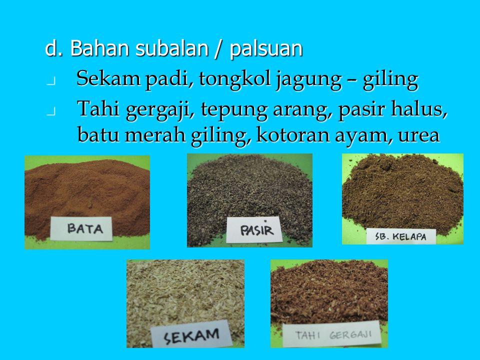 d. Bahan subalan / palsuan Sekam padi, tongkol jagung – giling Sekam padi, tongkol jagung – giling Tahi gergaji, tepung arang, pasir halus, batu merah
