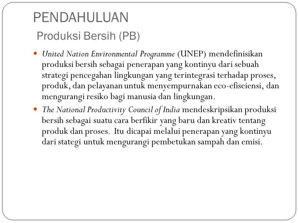 PENDAHULUAN Produksi Bersih (PB) United Nation Environmental Programme (UNEP) mendefinisikan produksi bersih sebagai penerapan yang kontinyu dari sebu