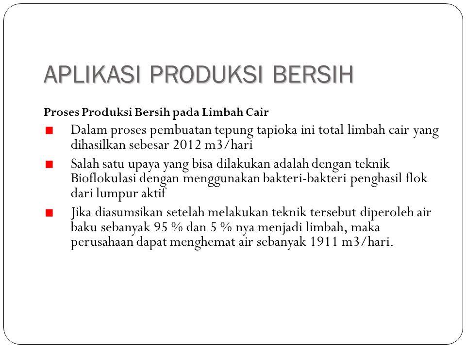 APLIKASI PRODUKSI BERSIH Proses Produksi Bersih pada Limbah Cair Dalam proses pembuatan tepung tapioka ini total limbah cair yang dihasilkan sebesar 2
