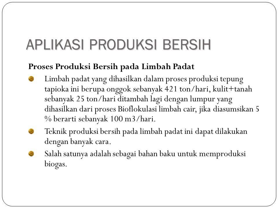 APLIKASI PRODUKSI BERSIH Proses Produksi Bersih pada Limbah Padat Limbah padat yang dihasilkan dalam proses produksi tepung tapioka ini berupa onggok