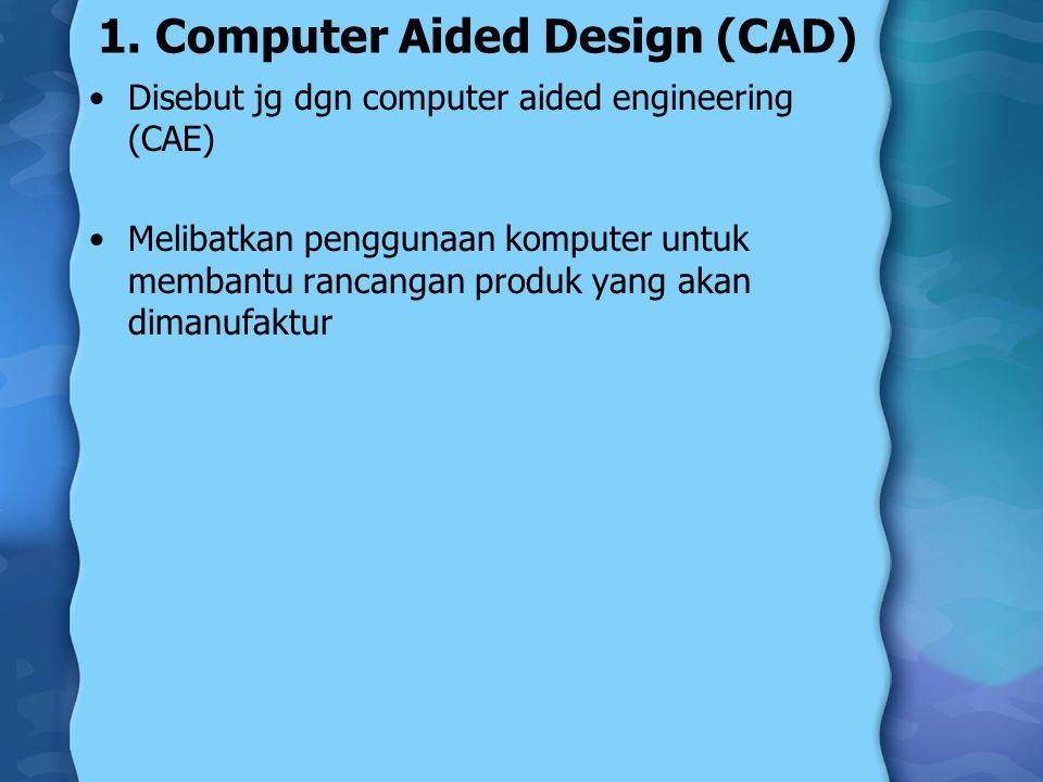 1. Computer Aided Design (CAD) Disebut jg dgn computer aided engineering (CAE) Melibatkan penggunaan komputer untuk membantu rancangan produk yang aka