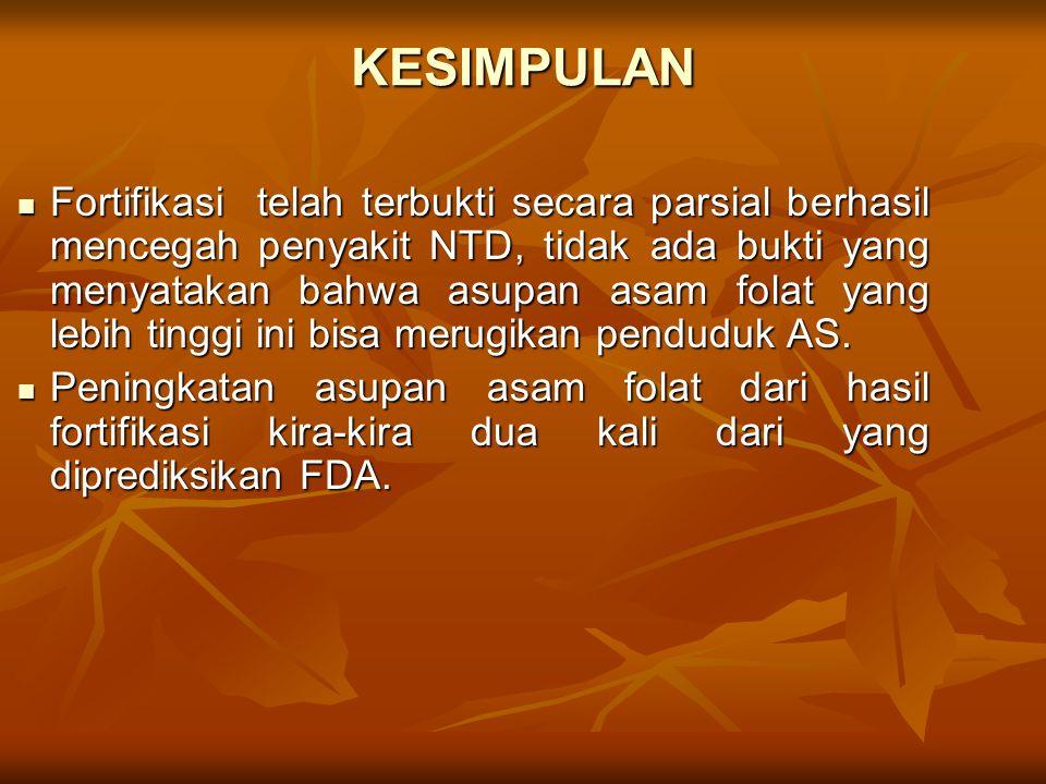 KESIMPULAN Fortifikasi telah terbukti secara parsial berhasil mencegah penyakit NTD, tidak ada bukti yang menyatakan bahwa asupan asam folat yang lebi