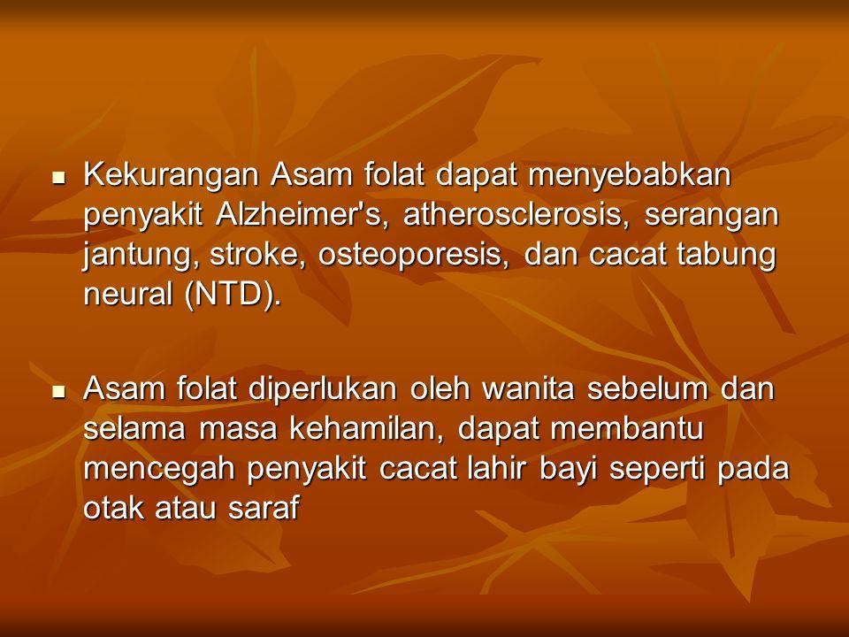 Kekurangan Asam folat dapat menyebabkan penyakit Alzheimer's, atherosclerosis, serangan jantung, stroke, osteoporesis, dan cacat tabung neural (NTD).