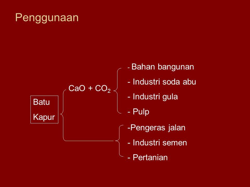 Penggunaan Batu Kapur CaO + CO 2 - Bahan bangunan - Industri soda abu - Industri gula - Pulp -Pengeras jalan - Industri semen - Pertanian