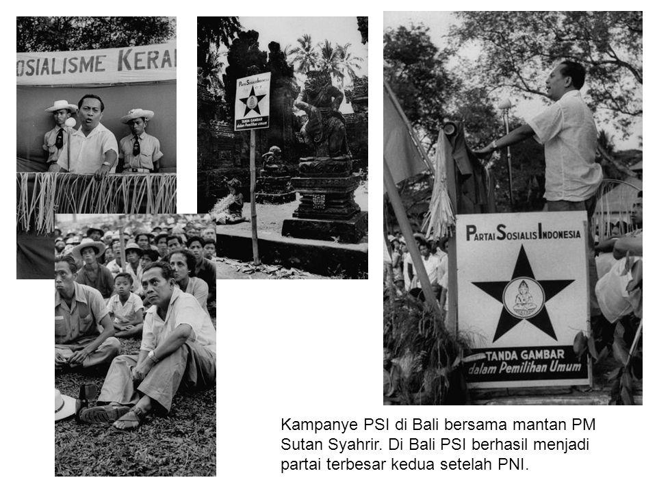 Kampanye PSI di Bali bersama mantan PM Sutan Syahrir. Di Bali PSI berhasil menjadi partai terbesar kedua setelah PNI.