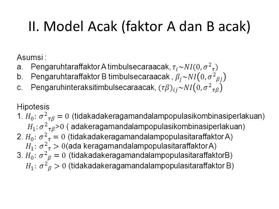 II. Model Acak (faktor A dan B acak)
