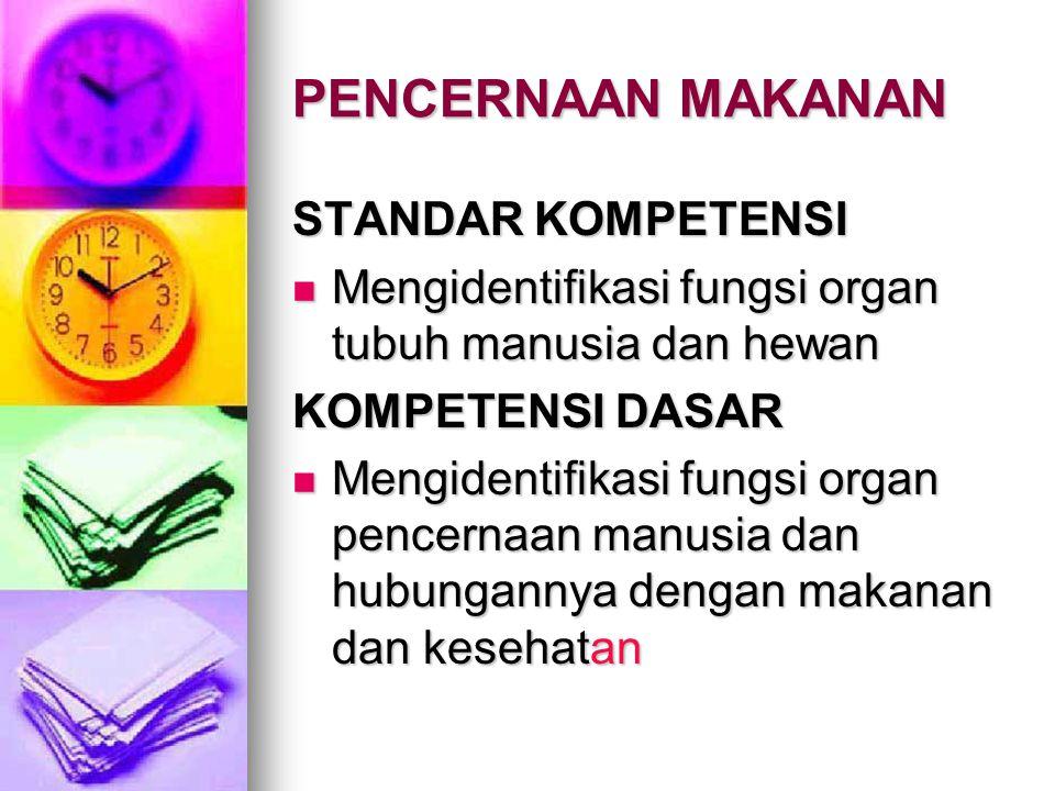 PENCERNAAN MAKANAN STANDAR KOMPETENSI Mengidentifikasi fungsi organ tubuh manusia dan hewan Mengidentifikasi fungsi organ tubuh manusia dan hewan KOMP