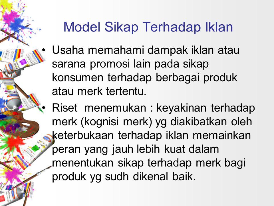 Model Sikap Terhadap Iklan Usaha memahami dampak iklan atau sarana promosi lain pada sikap konsumen terhadap berbagai produk atau merk tertentu. Riset