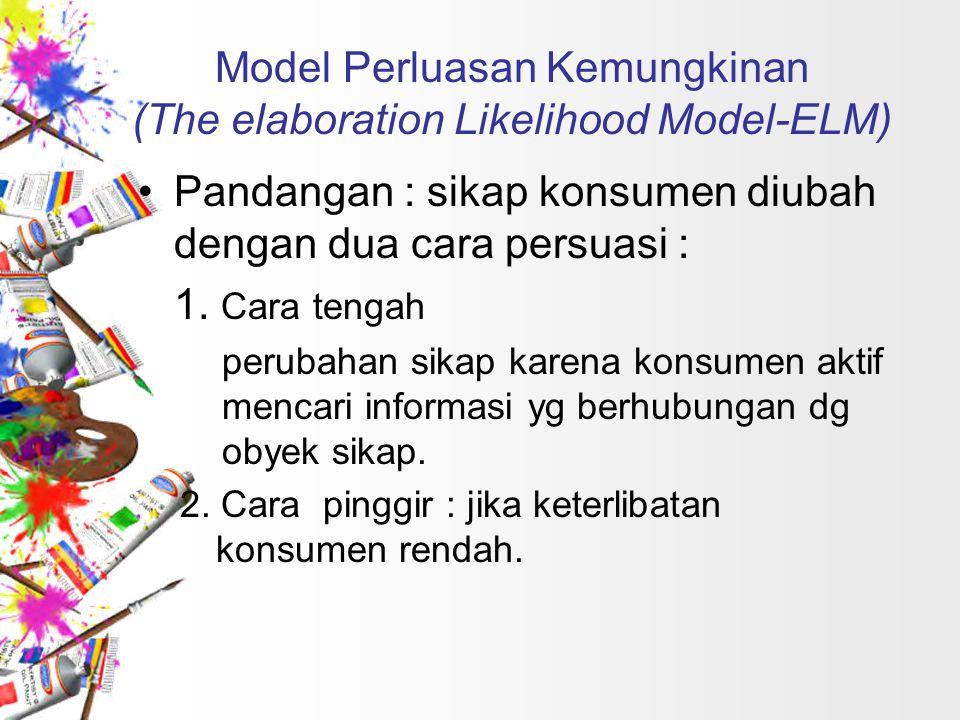 Model Perluasan Kemungkinan (The elaboration Likelihood Model-ELM) Pandangan : sikap konsumen diubah dengan dua cara persuasi : 1. Cara tengah perubah