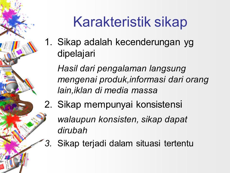 Karakteristik sikap 1.Sikap adalah kecenderungan yg dipelajari Hasil dari pengalaman langsung mengenai produk,informasi dari orang lain,iklan di media
