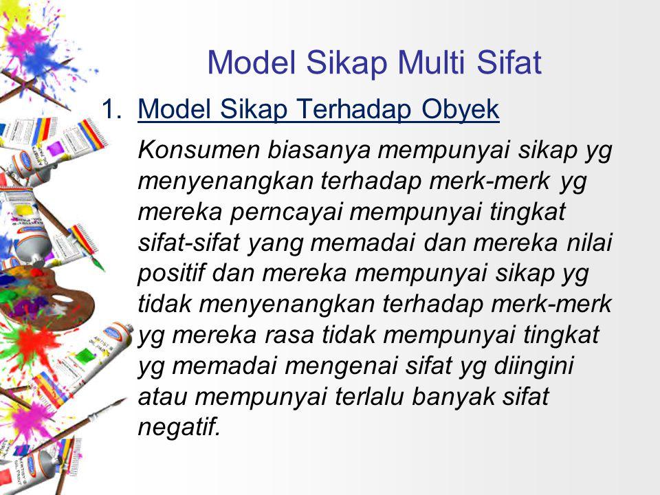 1.Model Sikap Terhadap Obyek Konsumen biasanya mempunyai sikap yg menyenangkan terhadap merk-merk yg mereka perncayai mempunyai tingkat sifat-sifat ya