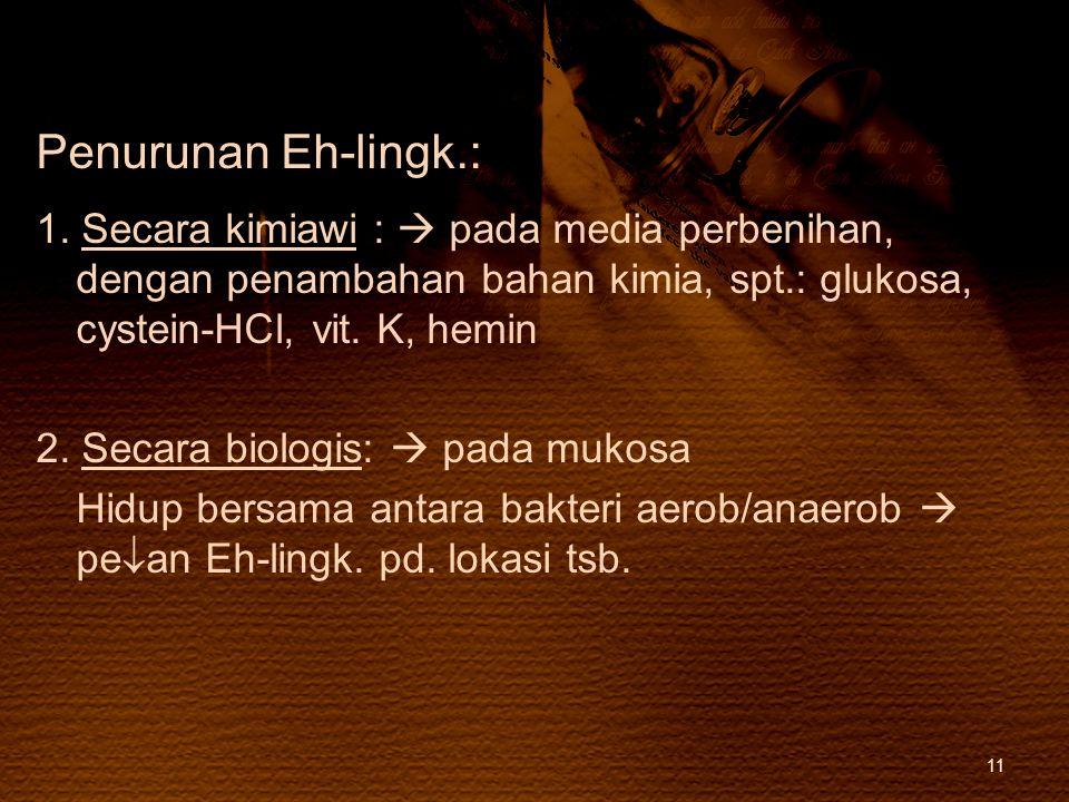 Penurunan Eh-lingk.: 1. Secara kimiawi :  pada media perbenihan, dengan penambahan bahan kimia, spt.: glukosa, cystein-HCl, vit. K, hemin 2. Secara b