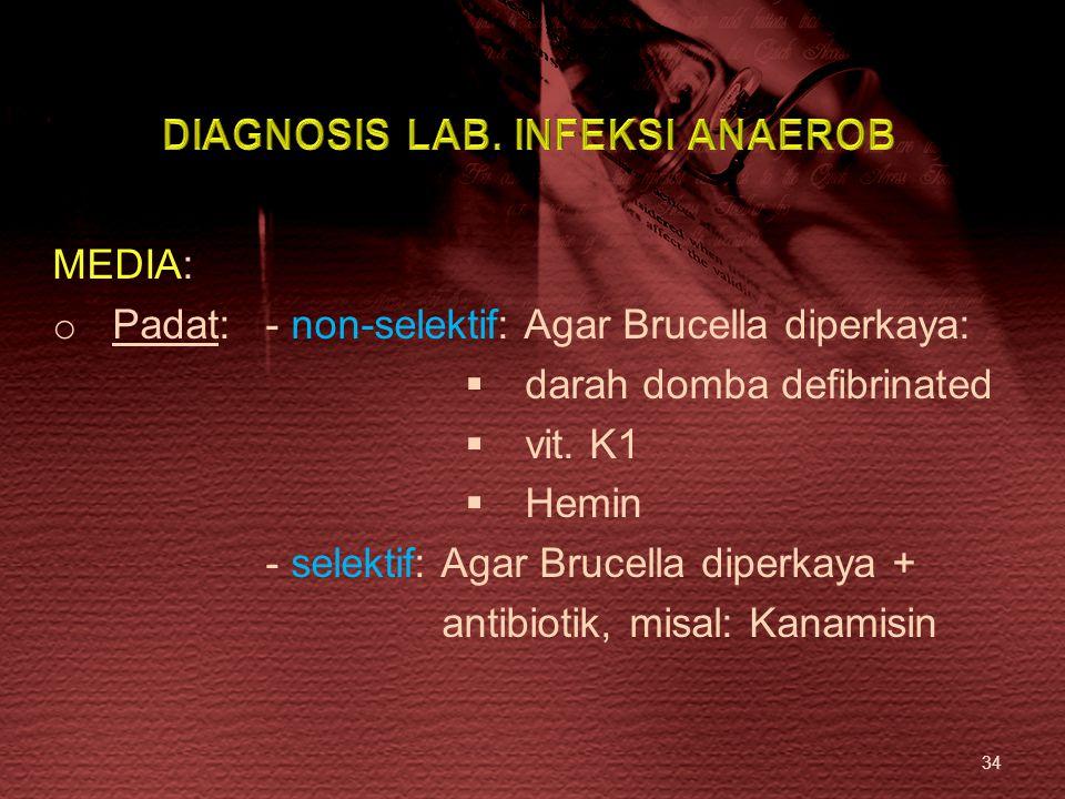 34 MEDIA: o Padat: - non-selektif: Agar Brucella diperkaya:  darah domba defibrinated  vit. K1  Hemin - selektif: Agar Brucella diperkaya + antibio
