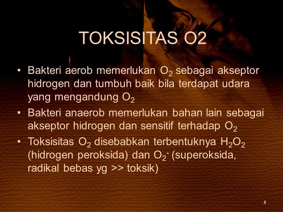 TOKSISITAS O2 Bakteri aerob memerlukan O 2 sebagai akseptor hidrogen dan tumbuh baik bila terdapat udara yang mengandung O 2 Bakteri anaerob memerluka