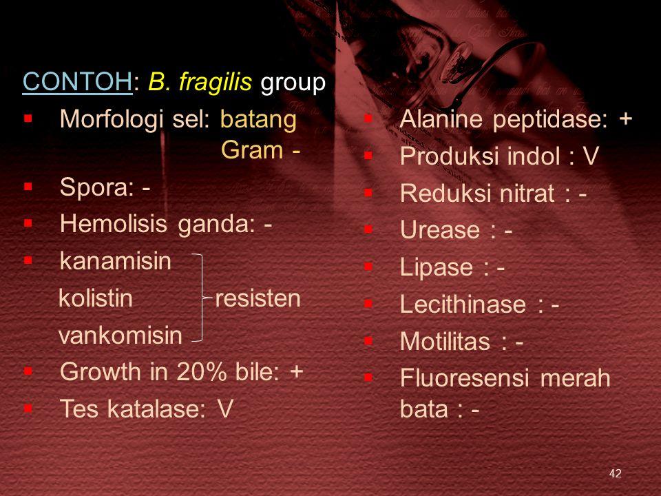 42 CONTOH: B. fragilis group  Morfologi sel: batang Gram -  Spora: -  Hemolisis ganda: -  kanamisin kolistin resisten vankomisin  Growth in 20% b
