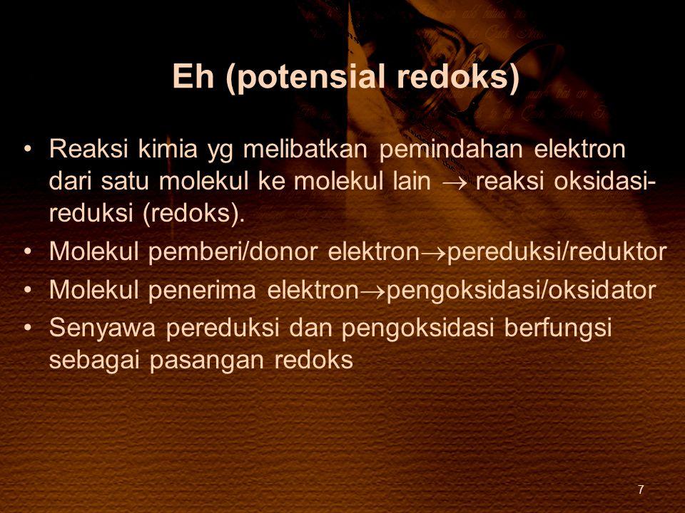 Eh (potensial redoks) Reaksi kimia yg melibatkan pemindahan elektron dari satu molekul ke molekul lain  reaksi oksidasi- reduksi (redoks). Molekul pe