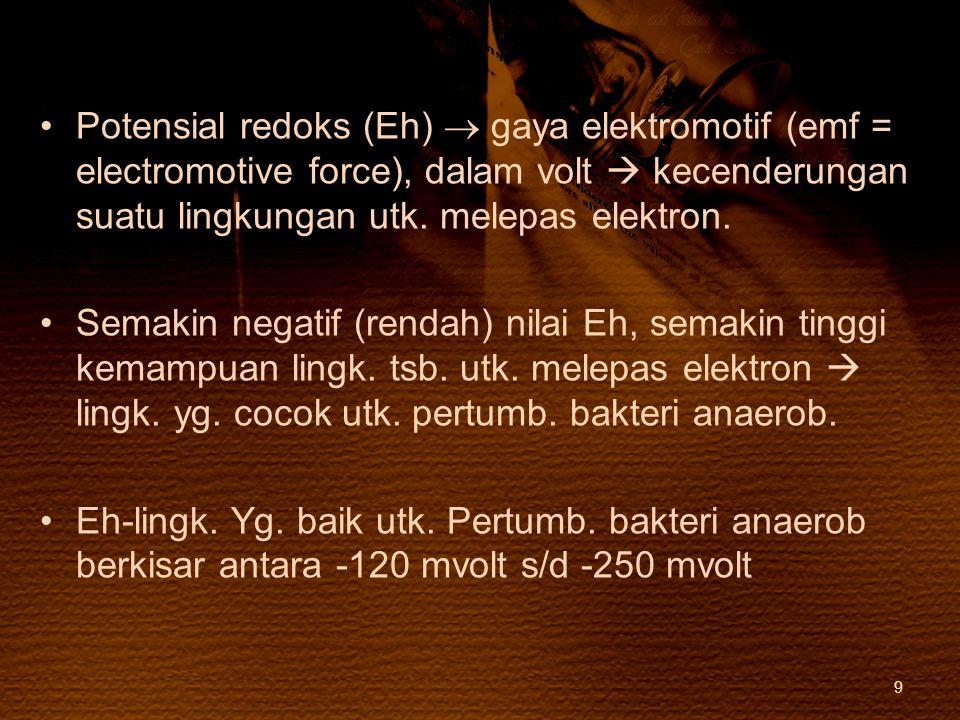 Potensial redoks (Eh)  gaya elektromotif (emf = electromotive force), dalam volt  kecenderungan suatu lingkungan utk. melepas elektron. Semakin nega