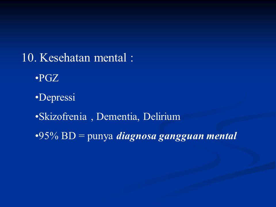 10. Kesehatan mental : PGZ Depressi Skizofrenia, Dementia, Delirium 95% BD = punya diagnosa gangguan mental