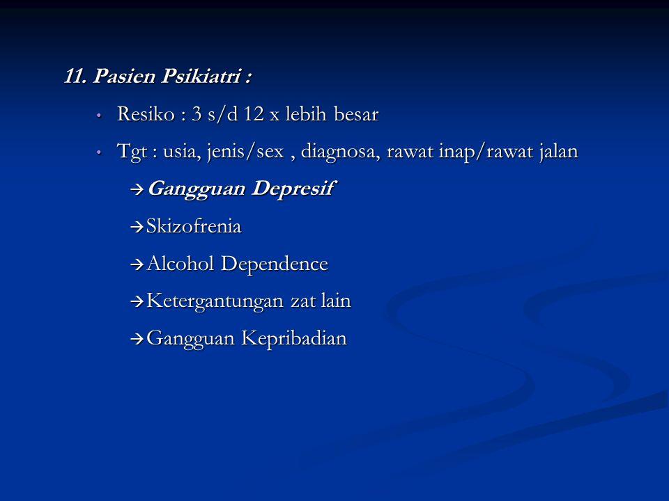 11. Pasien Psikiatri : Resiko : 3 s/d 12 x lebih besar Resiko : 3 s/d 12 x lebih besar Tgt : usia, jenis/sex, diagnosa, rawat inap/rawat jalan Tgt : u