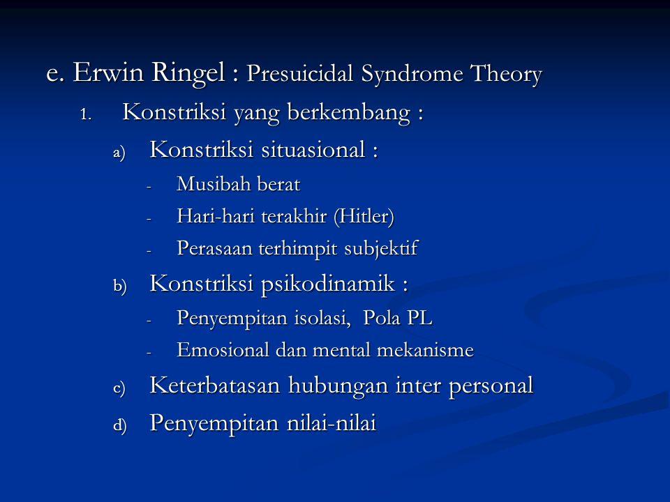 e. Erwin Ringel : Presuicidal Syndrome Theory 1. Konstriksi yang berkembang : a) Konstriksi situasional : - Musibah berat - Hari-hari terakhir (Hitler