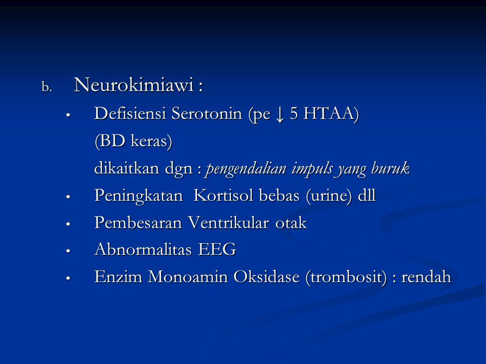 b. Neurokimiawi : Defisiensi Serotonin (pe ↓ 5 HTAA) Defisiensi Serotonin (pe ↓ 5 HTAA) (BD keras) dikaitkan dgn : pengendalian impuls yang buruk Peni