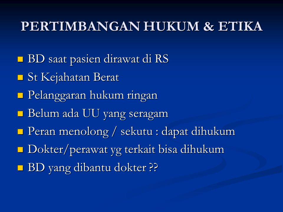 PERTIMBANGAN HUKUM & ETIKA BD saat pasien dirawat di RS BD saat pasien dirawat di RS St Kejahatan Berat St Kejahatan Berat Pelanggaran hukum ringan Pe