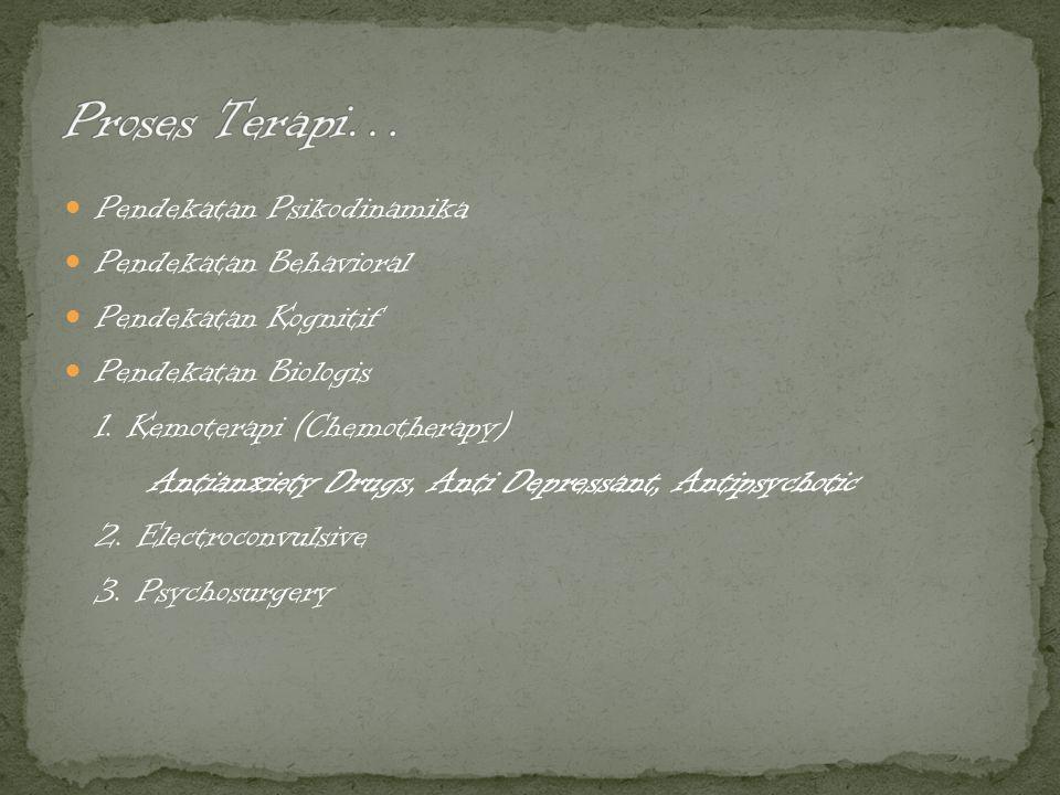 Pendekatan Psikodinamika Pendekatan Behavioral Pendekatan Kognitif Pendekatan Biologis 1. Kemoterapi (Chemotherapy) Antianxiety Drugs, Anti Depressant