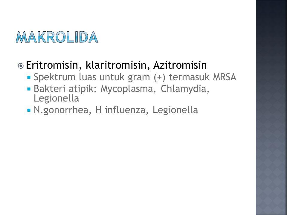  Eritromisin, klaritromisin, Azitromisin  Spektrum luas untuk gram (+) termasuk MRSA  Bakteri atipik: Mycoplasma, Chlamydia, Legionella  N.gonorrhea, H influenza, Legionella
