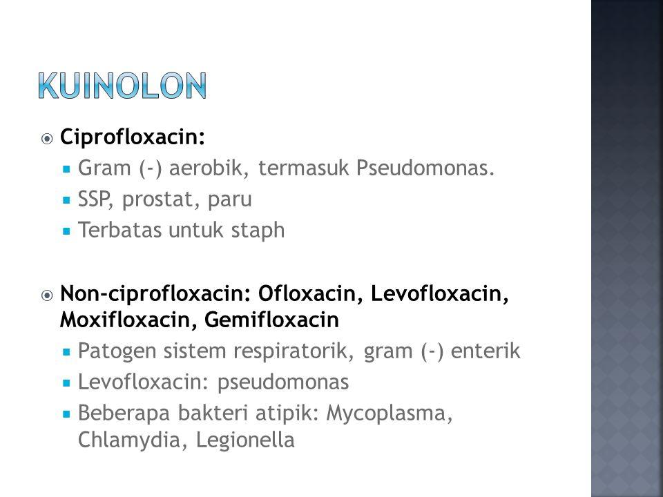  Ciprofloxacin:  Gram (-) aerobik, termasuk Pseudomonas.  SSP, prostat, paru  Terbatas untuk staph  Non-ciprofloxacin: Ofloxacin, Levofloxacin, M