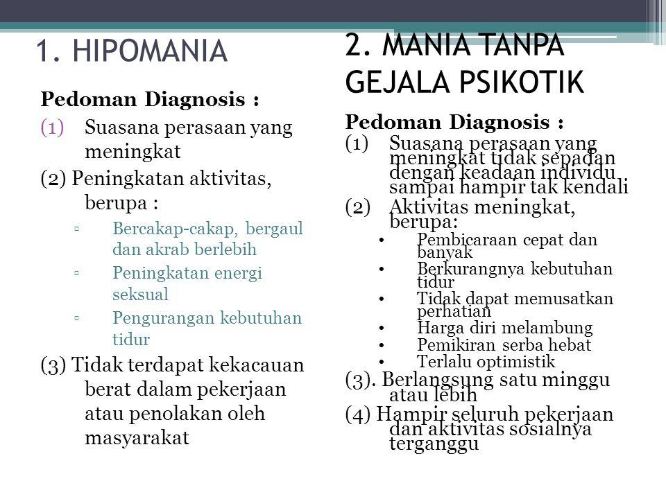 1. HIPOMANIA Pedoman Diagnosis : (1)Suasana perasaan yang meningkat (2) Peningkatan aktivitas, berupa : ▫Bercakap-cakap, bergaul dan akrab berlebih ▫P