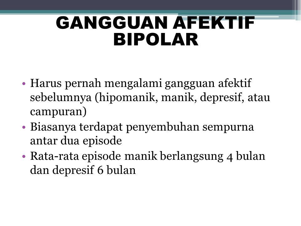 Harus pernah mengalami gangguan afektif sebelumnya (hipomanik, manik, depresif, atau campuran) Biasanya terdapat penyembuhan sempurna antar dua episod