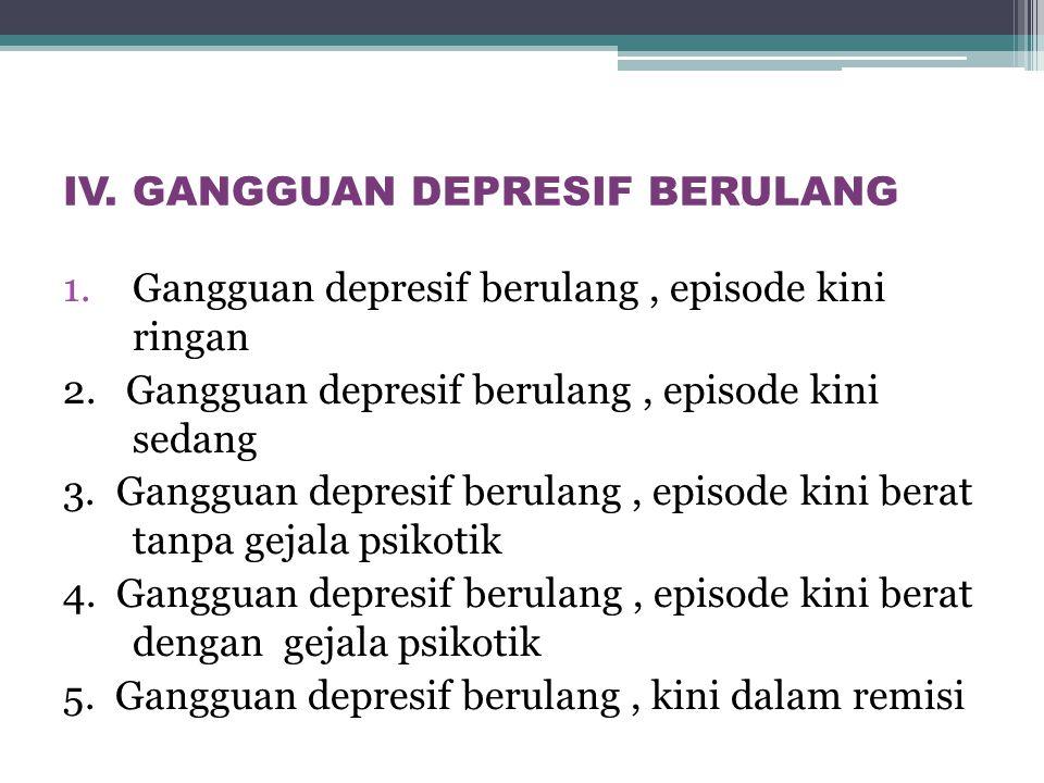 IV. GANGGUAN DEPRESIF BERULANG 1.Gangguan depresif berulang, episode kini ringan 2. Gangguan depresif berulang, episode kini sedang 3. Gangguan depres
