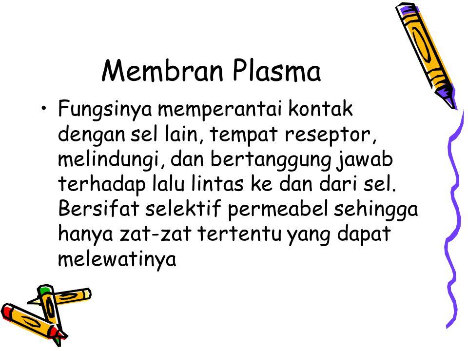 Membran Plasma Fungsinya memperantai kontak dengan sel lain, tempat reseptor, melindungi, dan bertanggung jawab terhadap lalu lintas ke dan dari sel.