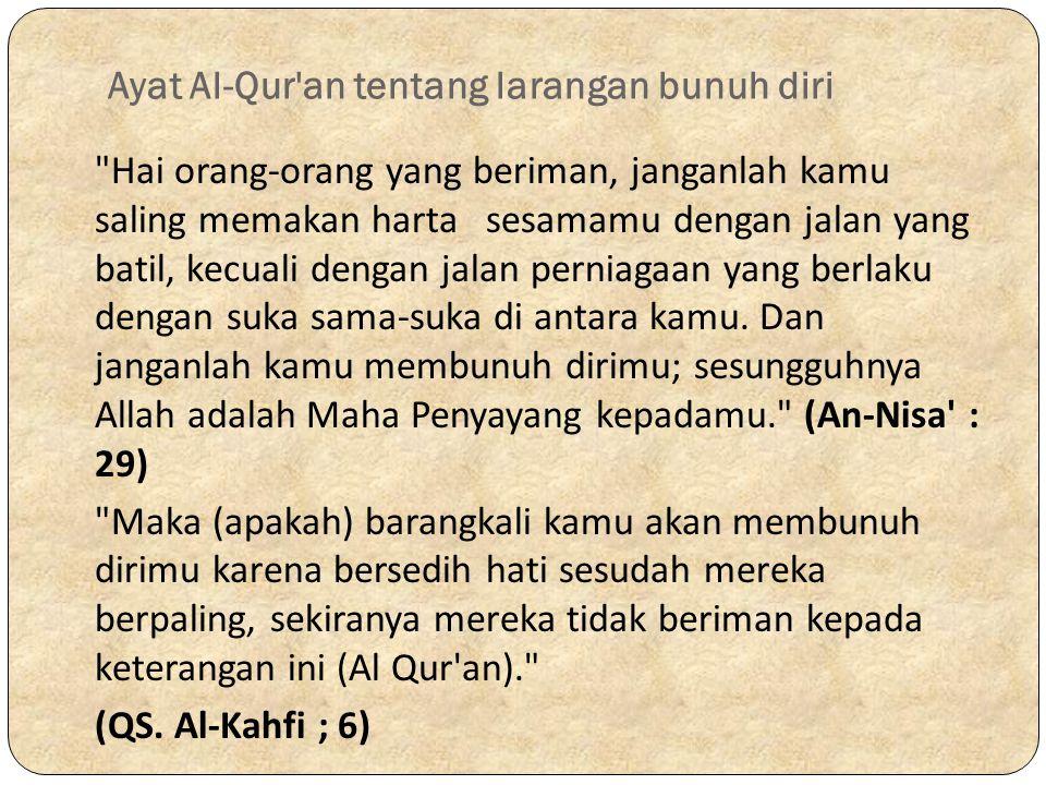 Ayat Al-Qur'an tentang larangan bunuh diri