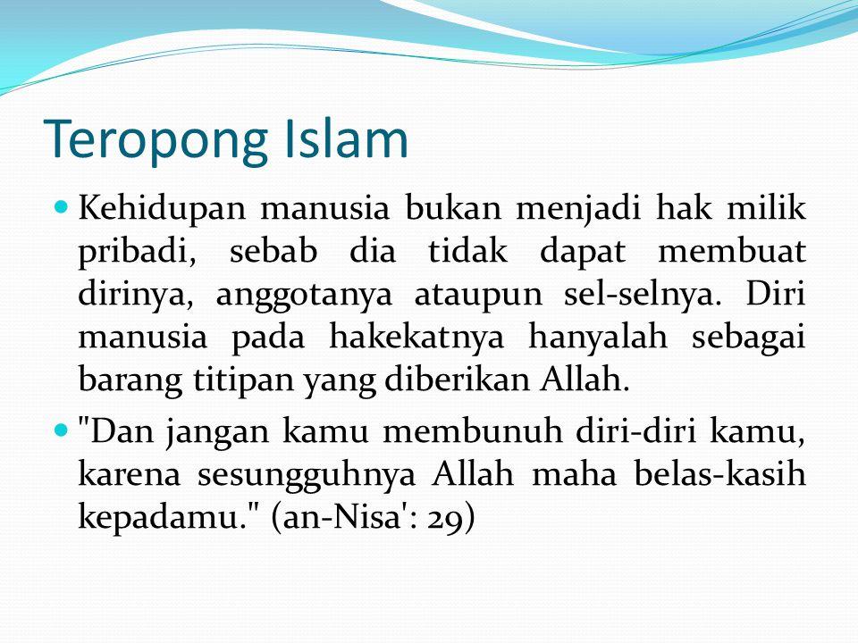 Teropong Islam Kehidupan manusia bukan menjadi hak milik pribadi, sebab dia tidak dapat membuat dirinya, anggotanya ataupun sel-selnya.