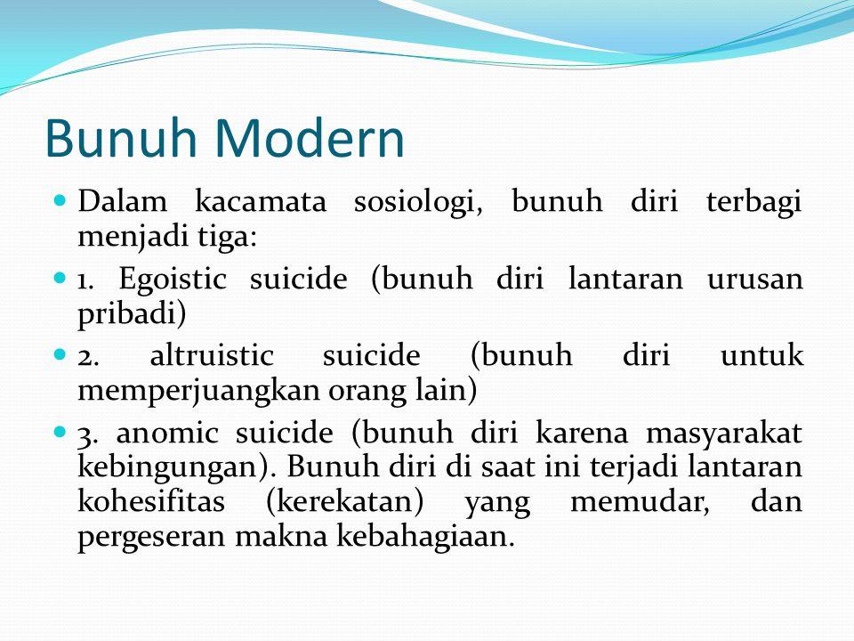 Bunuh Modern Dalam kacamata sosiologi, bunuh diri terbagi menjadi tiga: 1.
