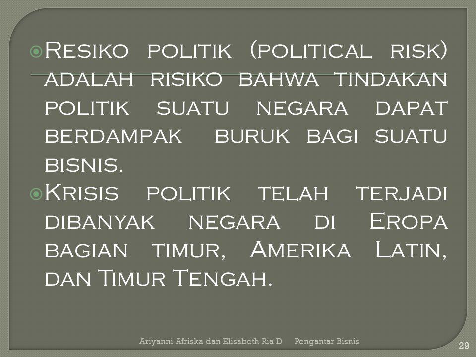  Resiko politik (political risk) adalah risiko bahwa tindakan politik suatu negara dapat berdampak buruk bagi suatu bisnis.  Krisis politik telah te